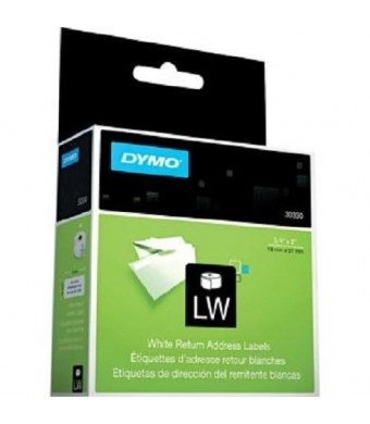 DYMO LW Return Address Labels for LabelWriter Label Printers, White, 3/4'' x 2'', 1 roll of 500 (30330)
