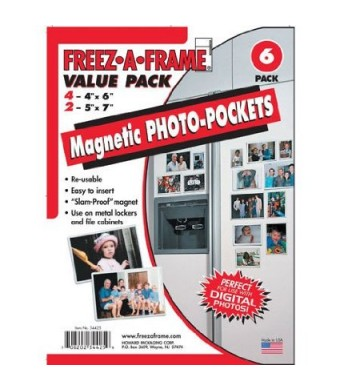 "Freez-A-Frame Magnetic Combo Pack with 4 - 4""  x 6""  and 2 - 5""  x 7""  Magnetic Photo Frames"