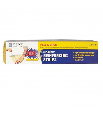 C-Line Self-Adhesive Reinforcing Strips, 10.75 x 1 Inches, Clear, 200 per Box (64112)