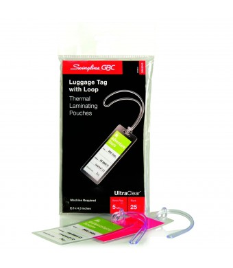Swingline GBC UltraClear Thermal Laminating Pouches, Luggage Tag With Loops Size, 5 Mil, 25 Pack (3202005)