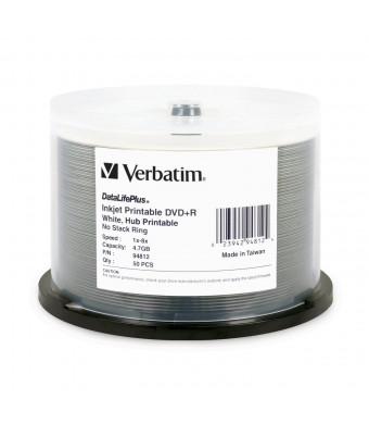 Verbatim DVD+R 4.7GB 8X DataLifePlus Inkjet Printable, Hub Printable 50 Disc Spindle, White 94812