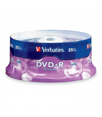 Verbatim 4.7 GB up to 16x Branded Recordable Disc DVD+R 25-Disc Spindle 95033