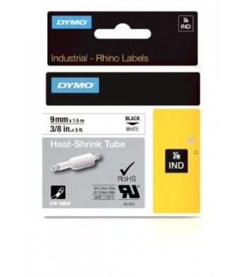 DYMO RhinoPRO Heat-Shrink Cable Label Tubes, 3/8-inch, 5 feet, White (18053)