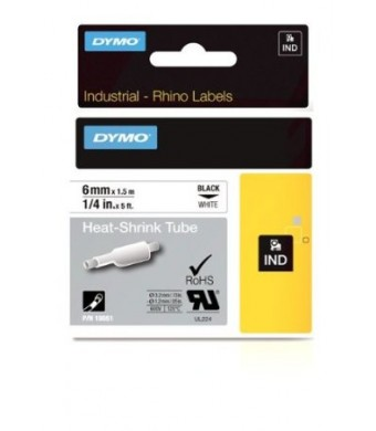 DYMO RhinoPRO Heat-Shrink Cable Label Tubes, 1/4-inch, 5 feet, White (18051)