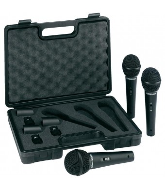 Behringer ULTRAVOICE XM1800S Dynamic Cardioid Vocal Microphones, 3-Pack