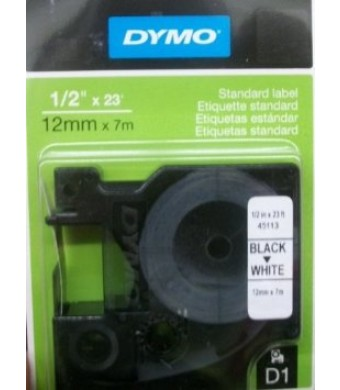 DYMO High-Performance Permanent Self-Adhesive D1 Standard Tape for Label Makers, 1/2-inch, Black Print on White, 23-foot Cartridge (45113)
