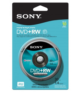 Sony 8cm DVD plus RW Spindle Skin Pack 10 Pack