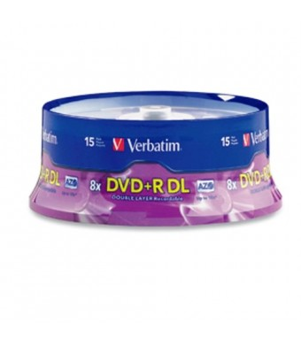 Verbatim DVD+R DL AZO 8.5 GB 8x-10x Branded Double Layer Recordable Disc, 15-Disc Spindle 95484