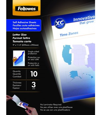 Fellowes Laminating Sheets, Self Adhesive, Letter Size, 3 Mil, 10 Pack (5221501)