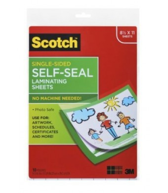 Scotch Laminating Sheets LS854SS-10, 9 Inches x 12 Inches, Letter Size, Single Sided