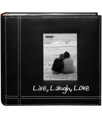"""Pioneer Photo Albums Embroidered Live, Laugh, Love Black Sewn Leatherette Frame Cover Album for 4"""" x6""""  Prints"""