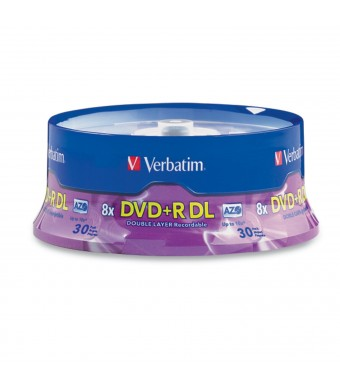 Verbatim DVD+R DL AZO 8.5 GB 8x-10x Branded Double Layer Recordable Disc, 30-Disc Spindle 96542