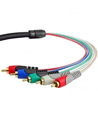 Mediabridge Component Video Cables with Audio (6 Feet) - Gold Plated RCA to RCA - Supports 1080i