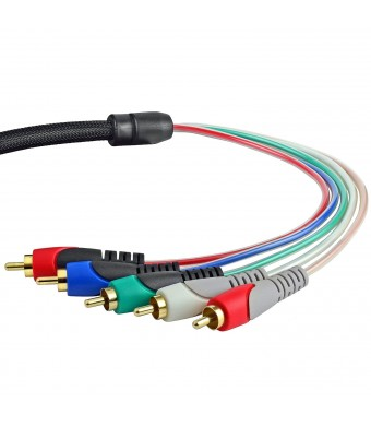 Mediabridge Component Video Cables with Audio (12 Feet) - Gold Plated RCA to RCA - Supports 1080i