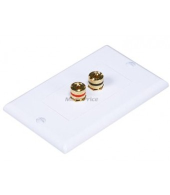 Monoprice 103324 High Quality Banana Binding Post Two-Piece inset Wall Plate for 1 Speaker