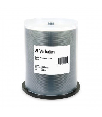 Verbatim 700 MB 52x 80 Minute Silver Inkjet Printable Recordable Disc CD-R, 100-Disc Spindle 95256