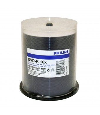 Philips Duplication Grade  White Inkjet Hub Printable 16X DVD-R Media 100 Pack in Cake Box (DM4I6B00M/17)