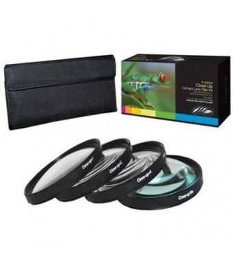 PLR Optics 52MM +1 +2 +4 +10 Close-Up Macro Filter Set with Pouch For The Nikon D5300, D5000, D3000, D3200, D5100, D5200, D3100, D3300, D7000, D7100,