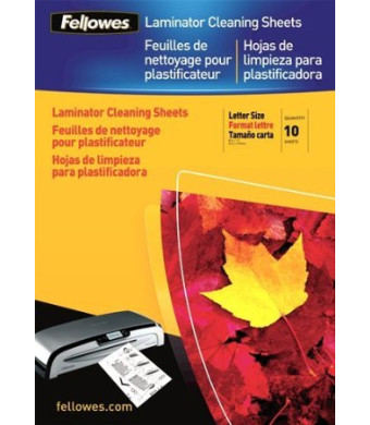 Fellowes Laminator Cleaning Sheets, 10 per Pack (5320603)
