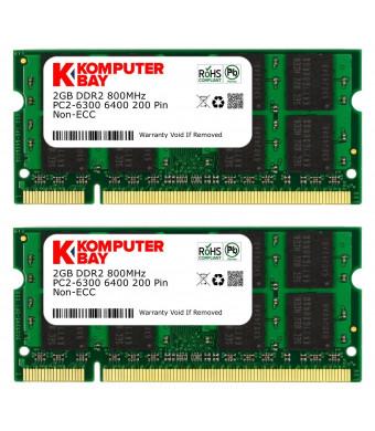 Komputerbay 4GB Kit (2GBx2) DDR2 800MHz (PC2-6400) CL6 SODIMM 200-Pin 1.8v Notebook Laptop Memory Modules with Lifetime Warranty