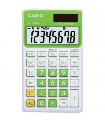 Casio SL-300VC Standard Function Calculator, Green