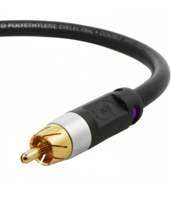 Mediabridge ULTRA Series Subwoofer Cable (25 Feet) - Dual Shielded with Gold Plated RCA to RCA Connectors - Black