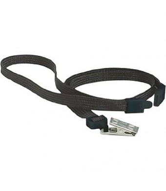 GBC BadgeMates Breakaway Lanyard with Bulldog Clip, Black, 10 per Pack (3747551)