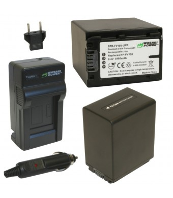 Wasabi Power Battery (2-Pack) and Charger for Sony NP-FV100 and Sony DCR-SR15, SR21, SR68, SR88, SX15, SX21, SX44, SX45, SX63, SX65, SX83, SX85, FDR-