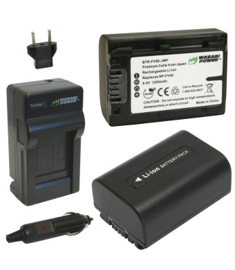 Wasabi Power Battery (2-Pack) and Charger for Sony NP-FV30, NP-FV40, NP-FV50 and Sony DCR-SR15, SR21, SR68, SR88, SX15, SX21, SX44, SX45, SX63, SX65,