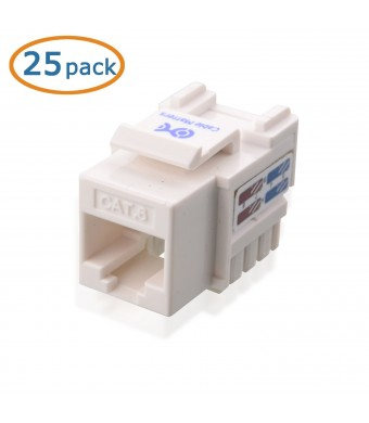 Cable Matters 25-Pack Cat6 RJ45 Keystone Jack in White and Keystone Punch-Down Stand