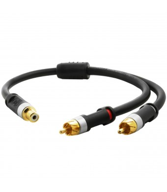 Mediabridge ULTRA Series RCA Y-Adapter (12 Inches) - 1-Female to 2-Male for Digital Audio or Subwoofer
