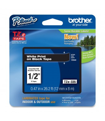Brother Tape, White on black, 12mm (TZe335) - Retail Packaging