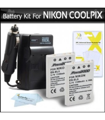 2 Pack Battery And Charger Kit For Nikon P100 P500 P510 P520 P530 Digital Camera Includes 2 Extended (1100 Mah) Replacement Nikon EN-EL5 Batteries +
