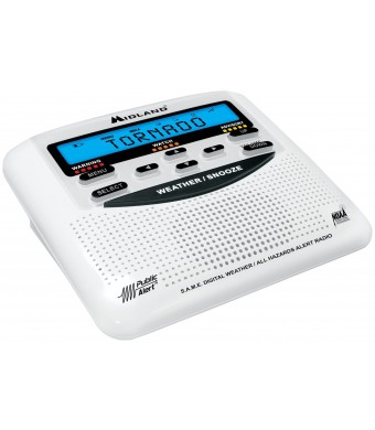 Midland WR-120C NOAA Public Alert-Certified Weather Radio with SAME, Trilingual Display, and Alarm Clock