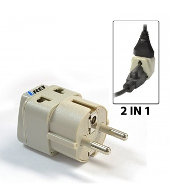 OREI Grounded Universal 2 in 1 Schuko Plug Adapter Type E/F for Germany, France, Europe, Russia and more - High Quality - CE Certified - RoHS Complia