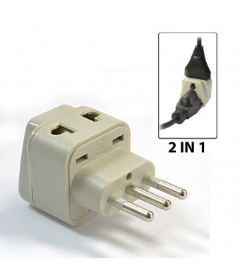 OREI Grounded Universal 2 in 1 Plug Adapter Type L for Italy, Uruguay and more - High Quality - CE Certified - RoHS Compliant WP-L-GN