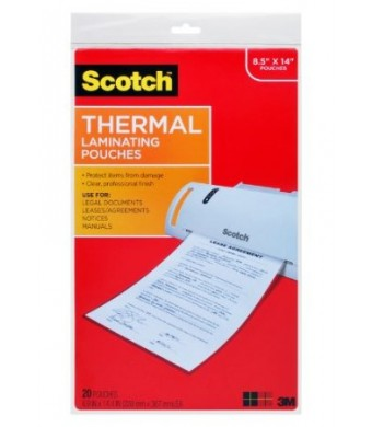 Scotch Thermal Laminating Sheets, 8.9 Inches x 14.4 Inches, Legal Size, 20 Sheets (TP3855-20)