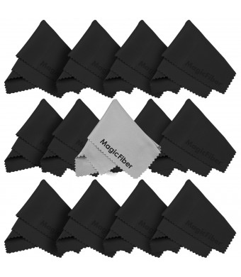 (13 Pack) MagicFiber Premium Microfiber Cleaning Cloths - For Tablet, Cell Phone, Laptop, LCD TV Screens and Any Other Delicate Surface (12 Black, 1