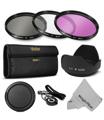 52MM Professional Lens Filter Accessory Kit for NIKON D7100 D7000 D5200 D5100 D5000 D3300 D3200 D3100 D3000 D90 D80 DSLR Cameras - Includes: Vivitar