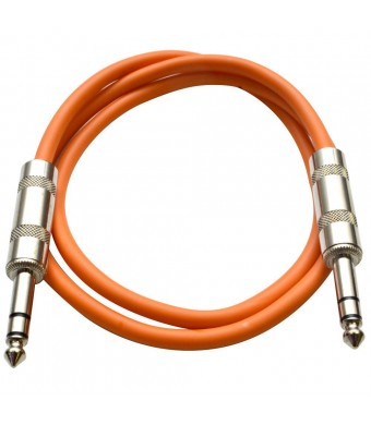 "Seismic Audio - SATRX-3 - Orange 3' 1/4""  TRS to 1/4""  TRS Patch Cable"
