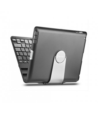 iPad case, iPad keyboard case, New Trent Airbender 1.0 Wireless Bluetooth Clamshell iPad Keyboard Case with 360 Degree Rotation and Multi-Angle Stand