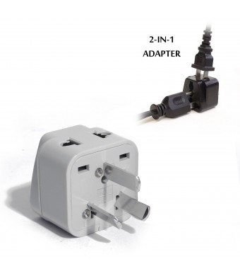 OREI Grounded Universal 2 in 1 Plug Adapter Type I for Australia, China, New Zealand and more - High Quality - CE Certified - RoHS Compliant WP-I-GN