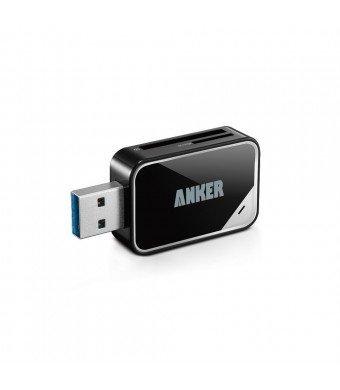 Anker USB 3.0 Card Reader 8-in-1 for SDXC, SDHC, SD, MMC, RS-MMC, Micro SDXC, Micro SD, Micro SDHC Card, Support UHS-I Cards, 18 Months Warranty