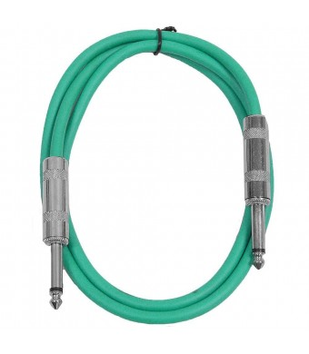 """Seismic Audio - SASTSX-2 - 2 Foot TS 1/4""""  Guitar, Instrument, or Patch Cable Green"""