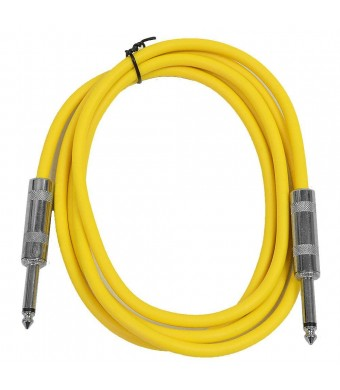 """Seismic Audio - SASTSX-6 - 6 Foot TS 1/4""""  Guitar, Instrument, or Patch Cable Yellow"""