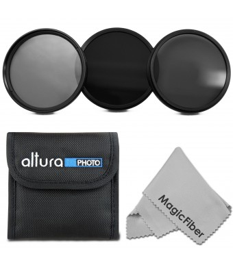 77MM Altura Photo Neutral Density Professional Photography Filter Set (ND2 ND4 ND8) + Premium MagicFiber Microfiber Cleaning Cloth
