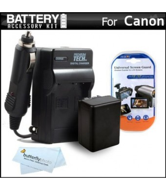 Battery And Charger Kit For Canon VIXIA HF R52, HF R50, HF R500, HF R42, HF R40, HF R400, HF R62, HF R60, HF R600 Camcorder Includes Replacement (210