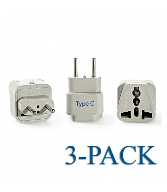 Ceptics Grounded Universal Plug Adapter for Europe (Type C), 3 Pack