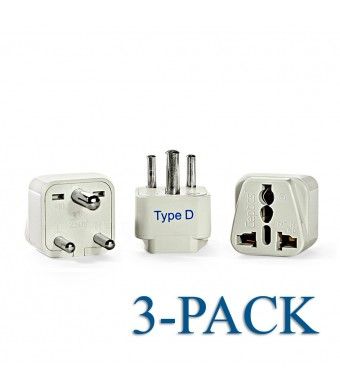Ceptics Grounded Universal Plug Adapter for India (Type D) - 3 Pack