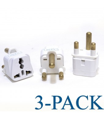 Ceptics Grounded Universal Plug Adapter for South Africa (Type M) - 3 Pack